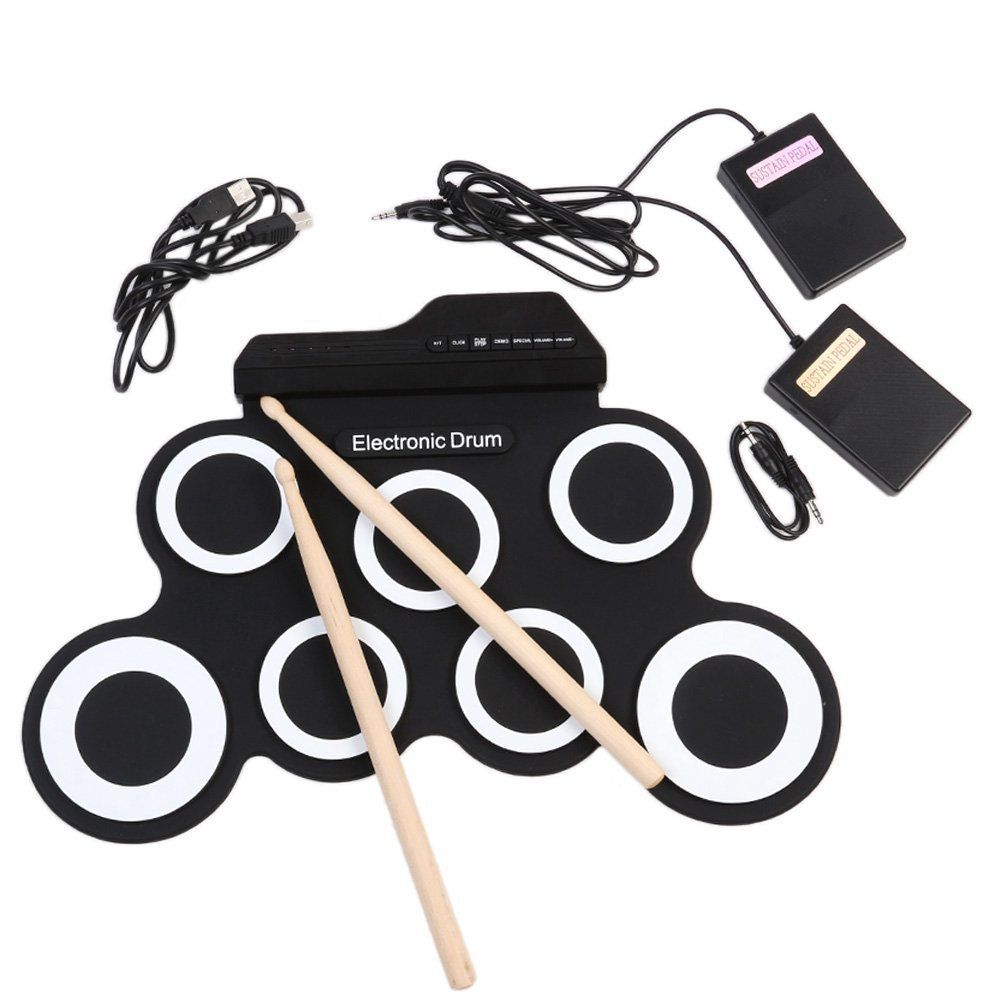 [Indonesia Direct] Portable Electronic Drum Digital USB 7 Pads Roll up Drum Set Silicone Electric Drum Pad Kit with DrumSticks Foot Pedal black
