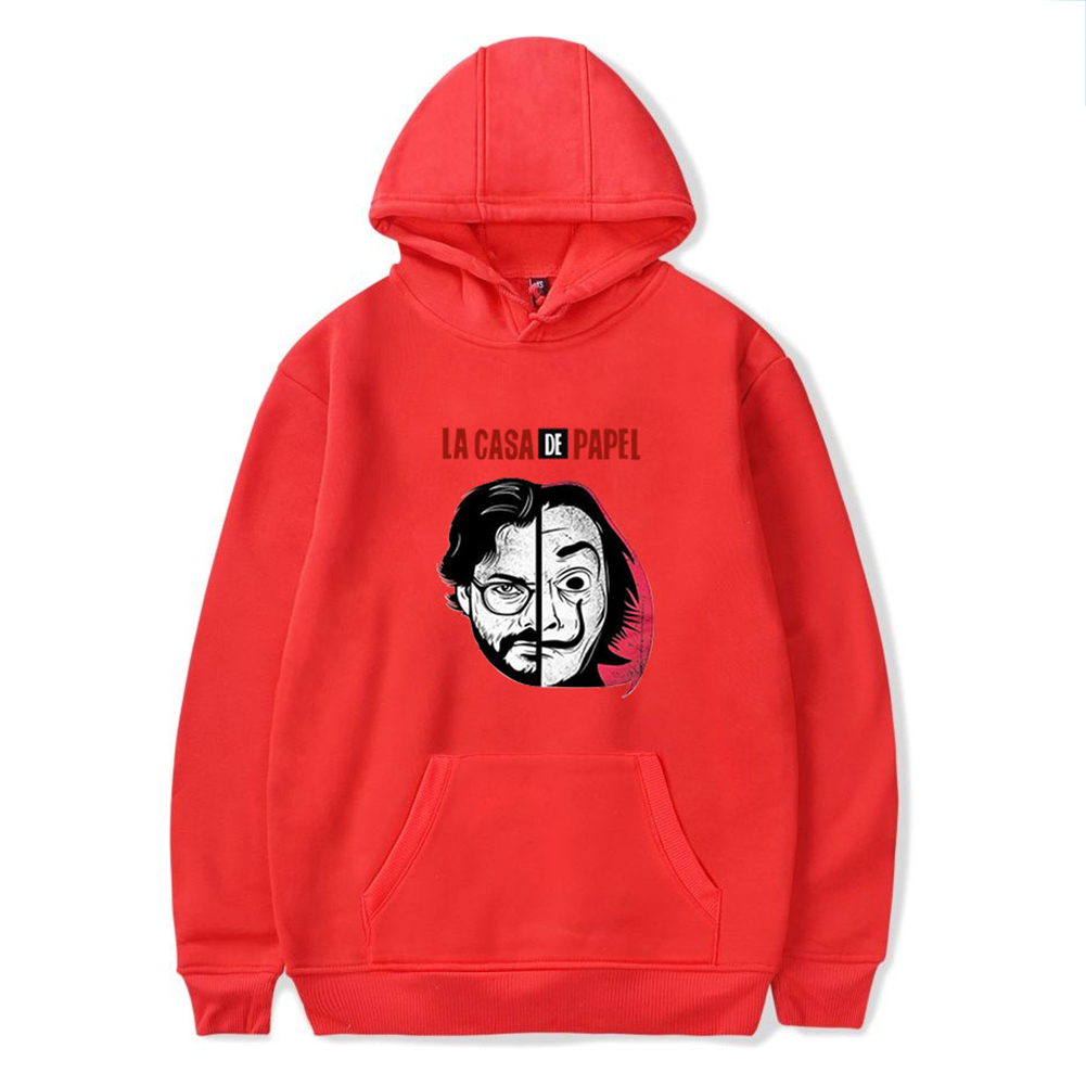 Long Sleeves Hoodie Loose Sweater Pullover with Unique Pattern Decor for Man and Woman Red E_M