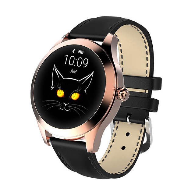 IP68 Waterproof Smart Watch Lovely Women Bracelet Heart Rate Monitor Sleep Monitoring Smartwatch Fitness Wristband Gold dial black strap