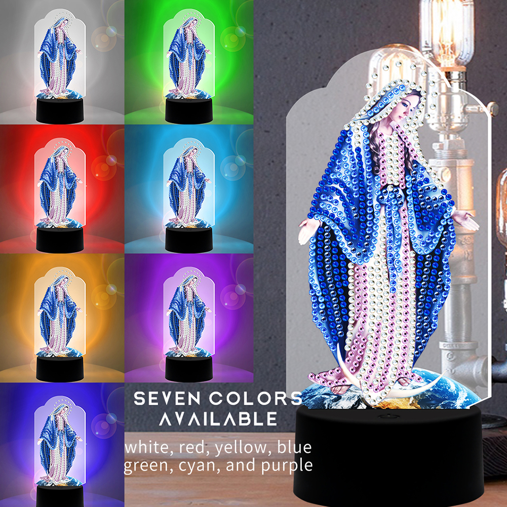 LED Diamond Painting Night Light DIY Virgin Mary Diamond Embroidery Home Decoration DP10