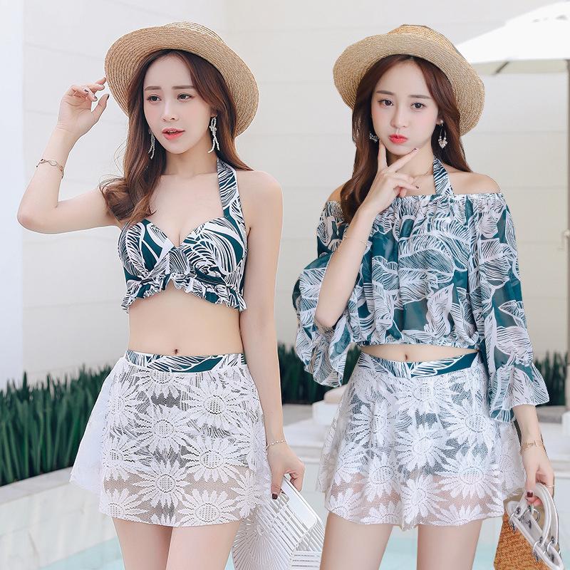 3 Pcs/set Women Swimsuit Conservative Slimming Printin Bikini Top+ Skirt + Overall green_Int:M
