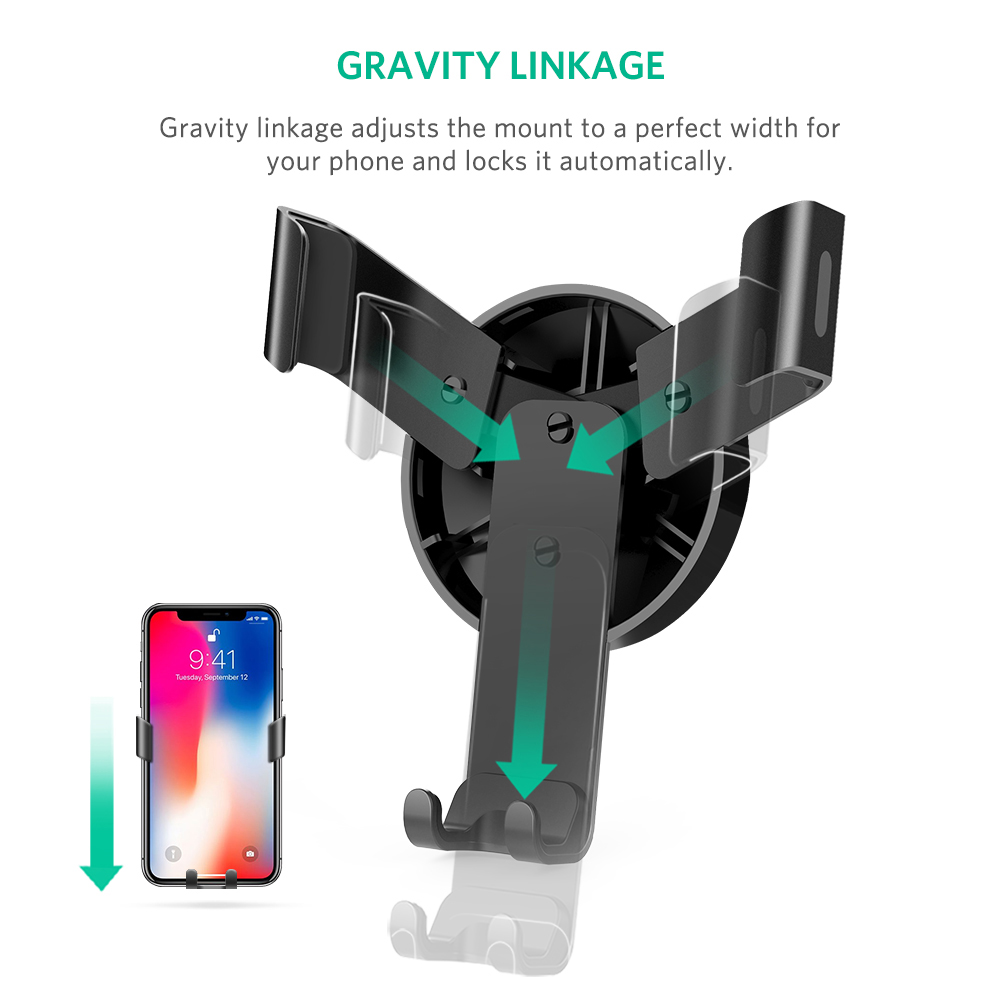 [US Direct] Original UGREEN Car Air Vent Mount Cell Phone Holder Gravity Compatible for Smartphone with maxima 6.2 inch Screen Size (Black) Black