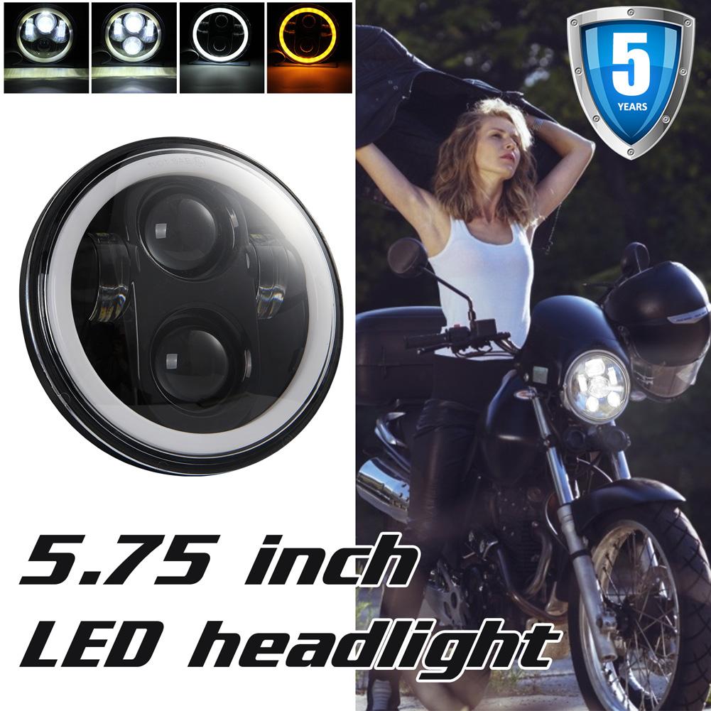 5.75 Inch Round Halo LED Headlight Angel Eyes Lamp for Motorcycle  Black shell