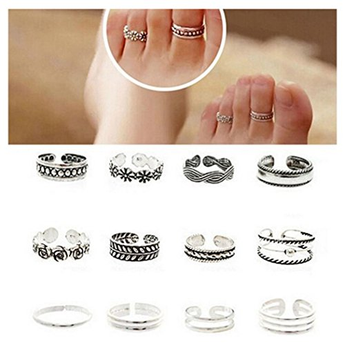 [EU Direct] Wholesale 12pcs Celebrity Fashion Simple Sliver Carved Flower Toe Ring Jewelry C