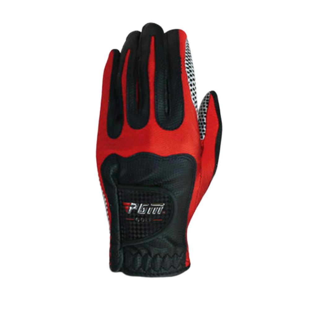 Men Golf Fiber Cloth Gloves Left/Right Hand Glove Magic Elastic Particles Men Slip-resistant Accessories [Left hand] black red_L