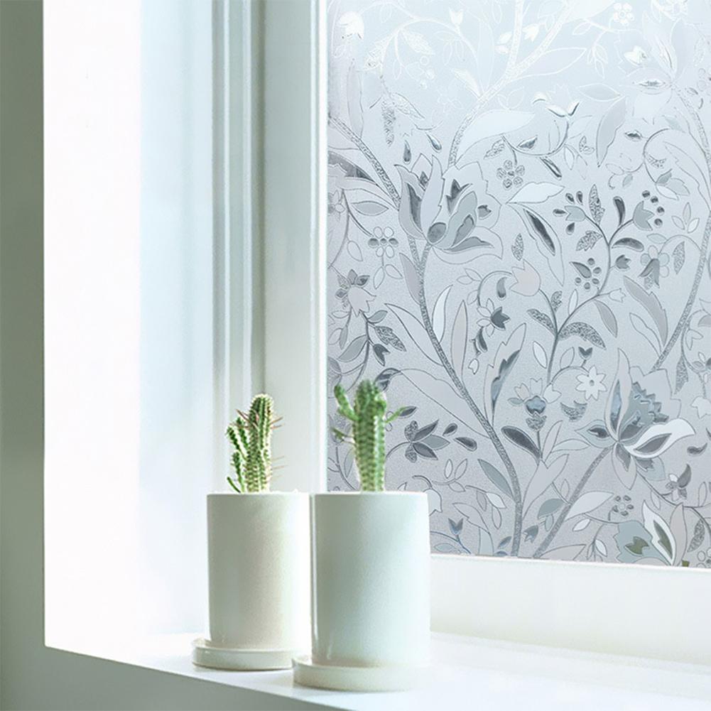 3D Waterproof PVC Frosted Static Window Sticker Flower Pattern Glass Film for Home Bedroom Bathroom 45x200cm/roll