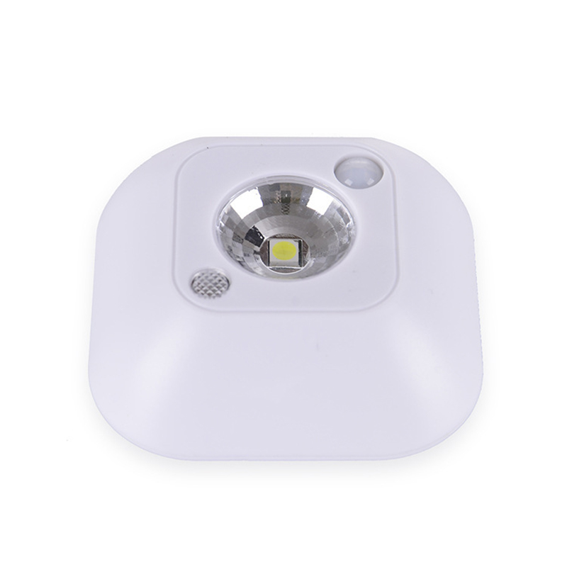 LED Motion Sensor Night Light, Mini Wireless Ceiling Night Lamp, Battery Powered Porch Cabinet Lamps with Infrared Motion Sensor + Light Control White