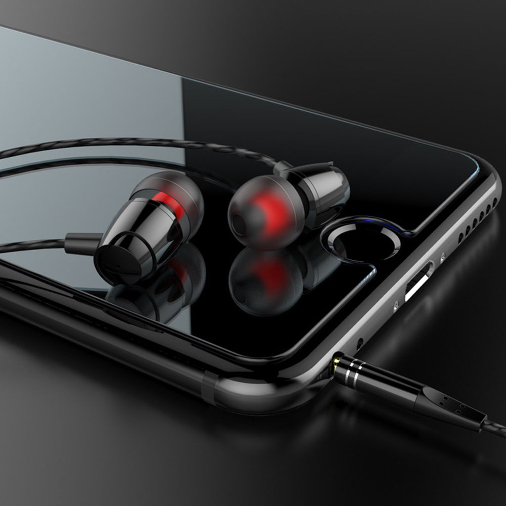 1.2M Line Sports In-Ear Metal Earphone Stereo Wired Earbuds 3.5mm AUX with Microphone Black