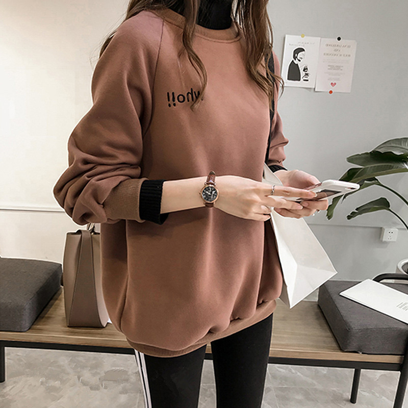 Woman Autumn Winter Thickened Sweatshirts Oversize Hoodie High Collar Long Sleeves Letters Embroidery False Two Pieces Tops Dark brown_L