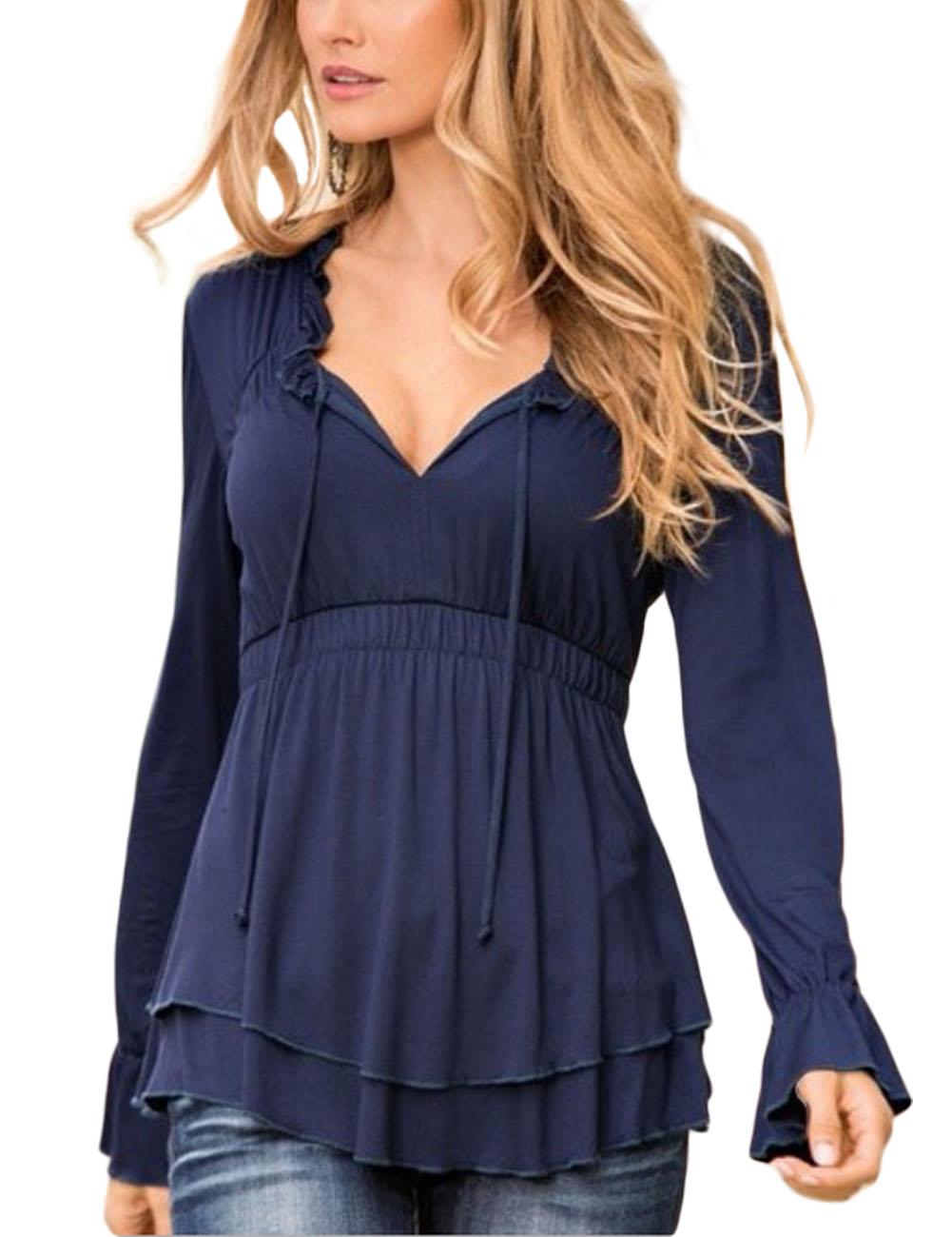 [US Direct] Leadingstar  Women's Long Sleeve V Neck Elastic Waist Stringy Selvedge Multilayer Blouse Black S