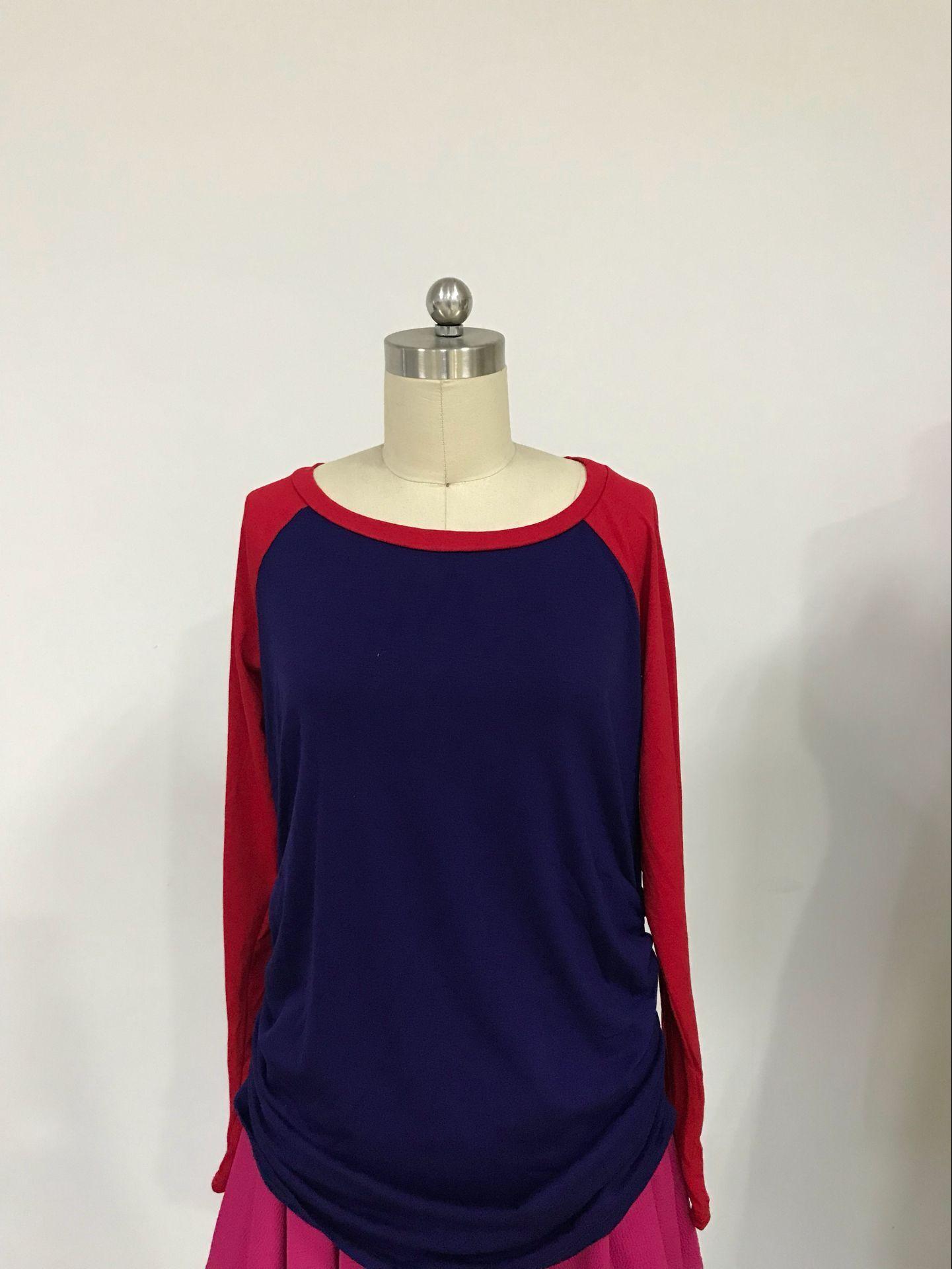 [US Direct] HiMiss Women Long Sleeve Crew Neck Baseball Raglan Maternity T-Shirts Top Royal Blue_XL