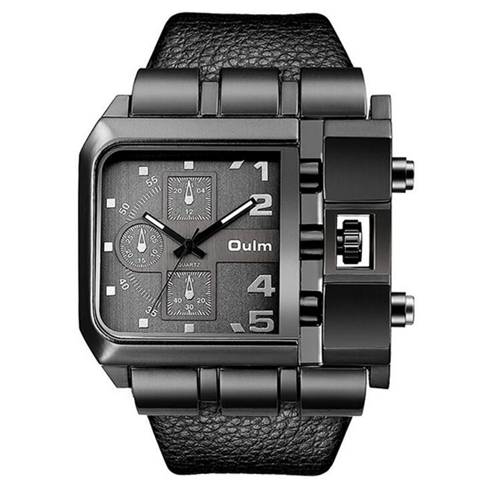 Men Casual Leather Band Square Dial Fashion Watch black