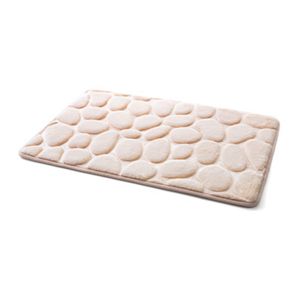 Simple Non-Slip Pebble Flannel Bathroom Bath Rug Foam Pad Mat Shower Floor Carpet 40*60CM