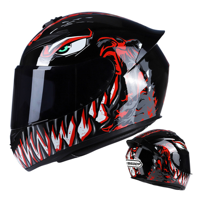 Men Women Motorcycle Helmet Large Tail Full Face Helmet Racing Motorcycle Running Helmet Red_XL