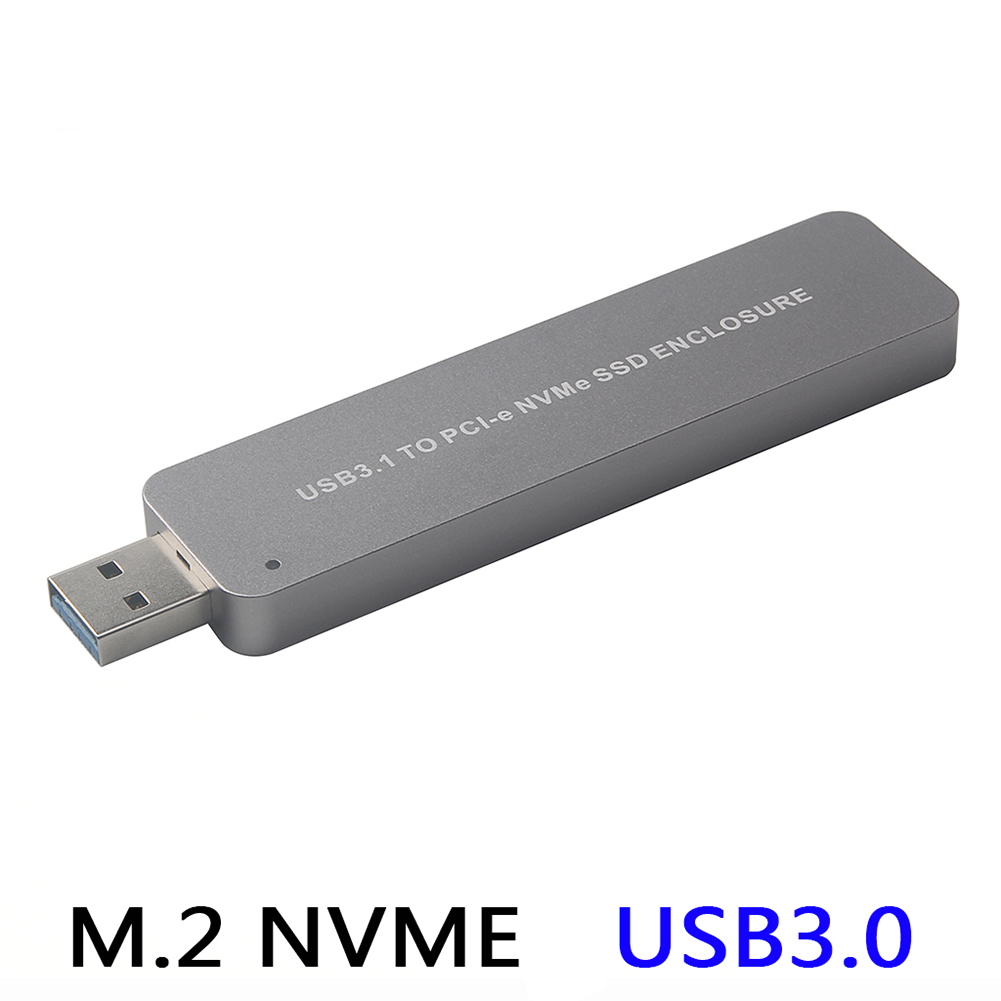 M2 NVME to USB 3.0 Mobile Hard Disk Box M2 NGFF PCIE SSD Solid State to USB3.0 Adapter Silver grey