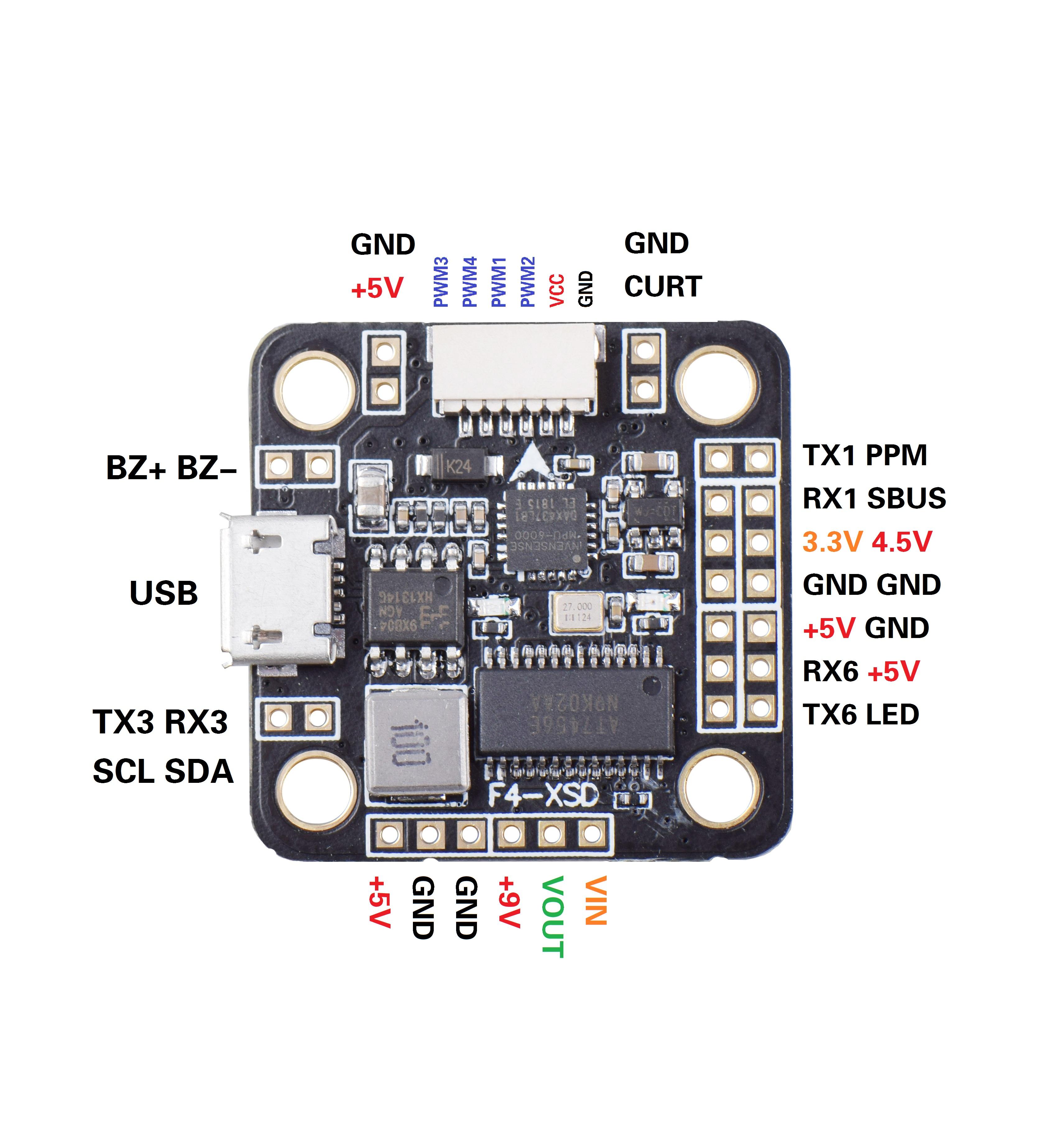 Betaflight F4-XSD Flight Controller Board 2-6S Built-in OSD 5V 9V BEC for Mini 150 130 FPV Racer Drone Support SBUS PPM RX gray