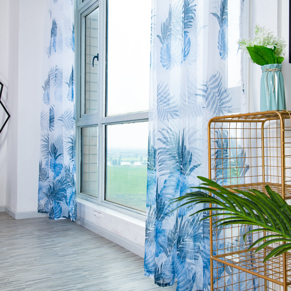 Anti-mosquito Drapes Banana Leaf Printing Tulle Curtain for Living Room Bedroom Window Decoration 100*200cm Blue_1m wide x 2m high