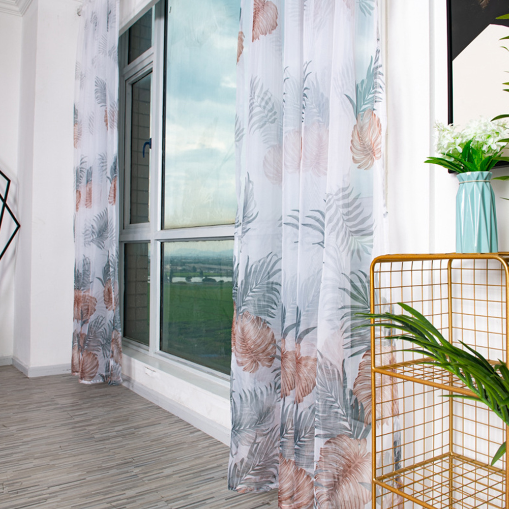 Anti-mosquito Drapes Banana Leaf Printing Tulle Curtain for Living Room Bedroom Window Decoration 100*200cm Coffee_1m wide x 2m high