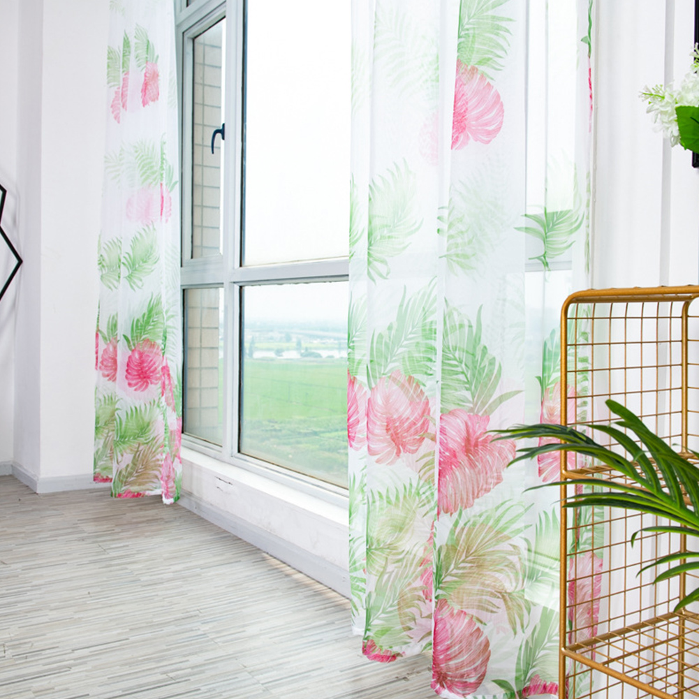 Anti-mosquito Drapes Banana Leaf Printing Tulle Curtain for Living Room Bedroom Window Decoration 100*200cm Red_1m wide x 2m high