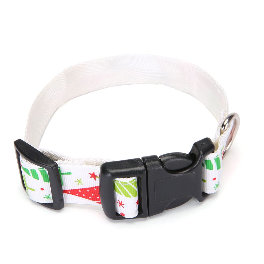 Pet Cloth Printing Collar with Bell for Cat Dogs Teddy Christmas Party Prop White christmas tree_S
