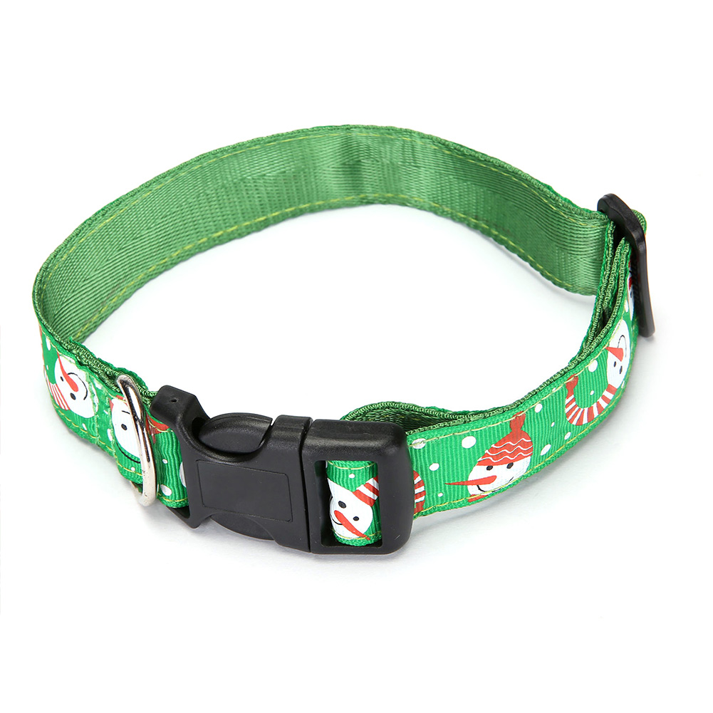 Pet Cloth Printing Collar with Bell for Cat Dogs Teddy Christmas Party Prop Green snowman_S