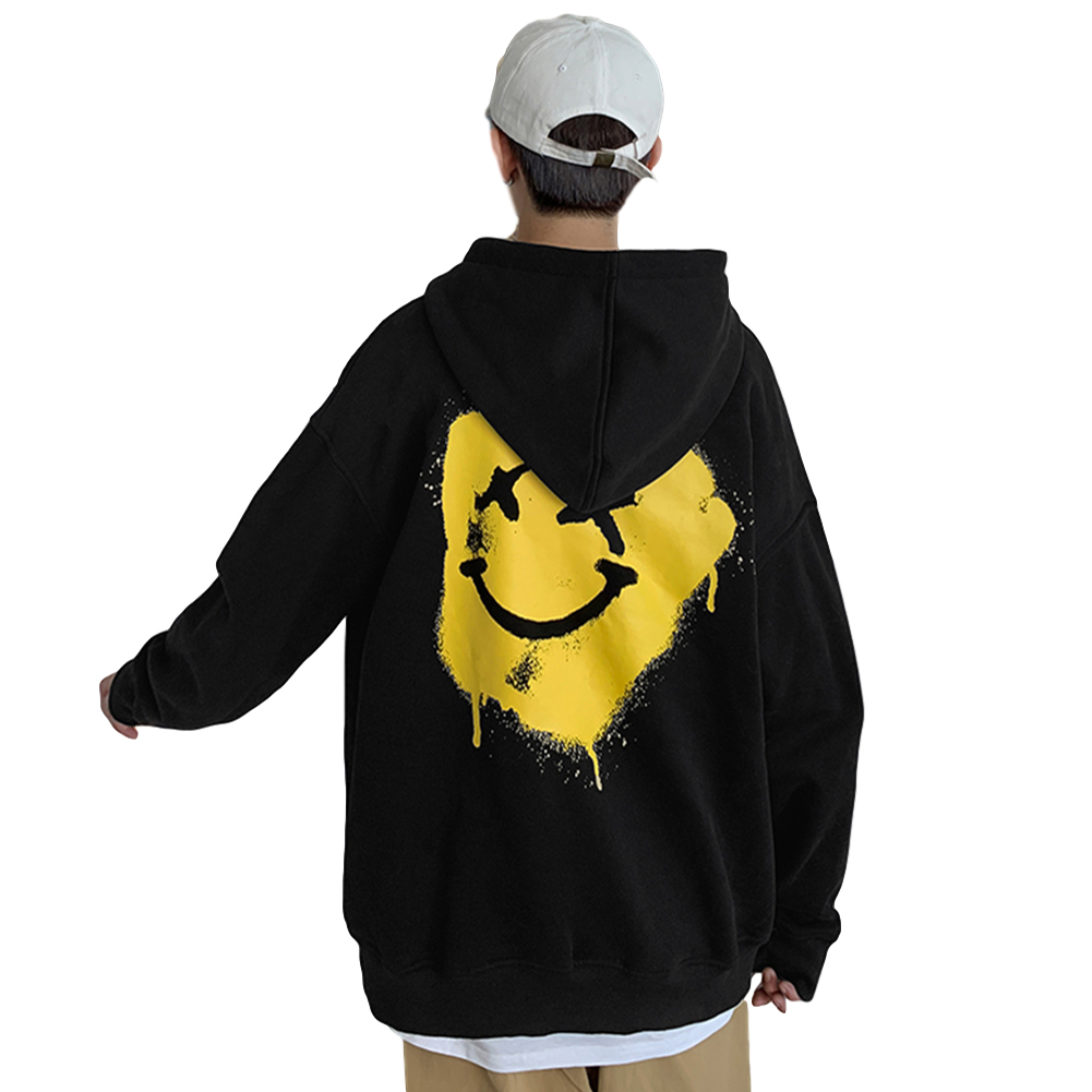 Men's Hoodie Autumn Smile-face Printing All-match Long-sleeve Hooded Sweater Black _M