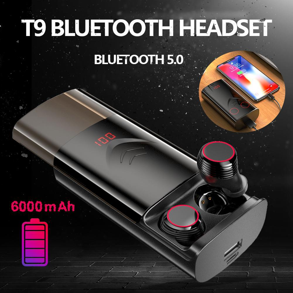 T9 TWS Wireless Bluetooth 5.0 Earphones Stereo HiFi Earphones Earbuds with 6000mAh Charging Case  black