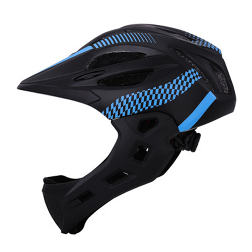 Children Detachable Full Face Bicycle / Mountain Road Bicycle Safety Helmet with Tail Light Black blue_Head circumference (42-52cm)