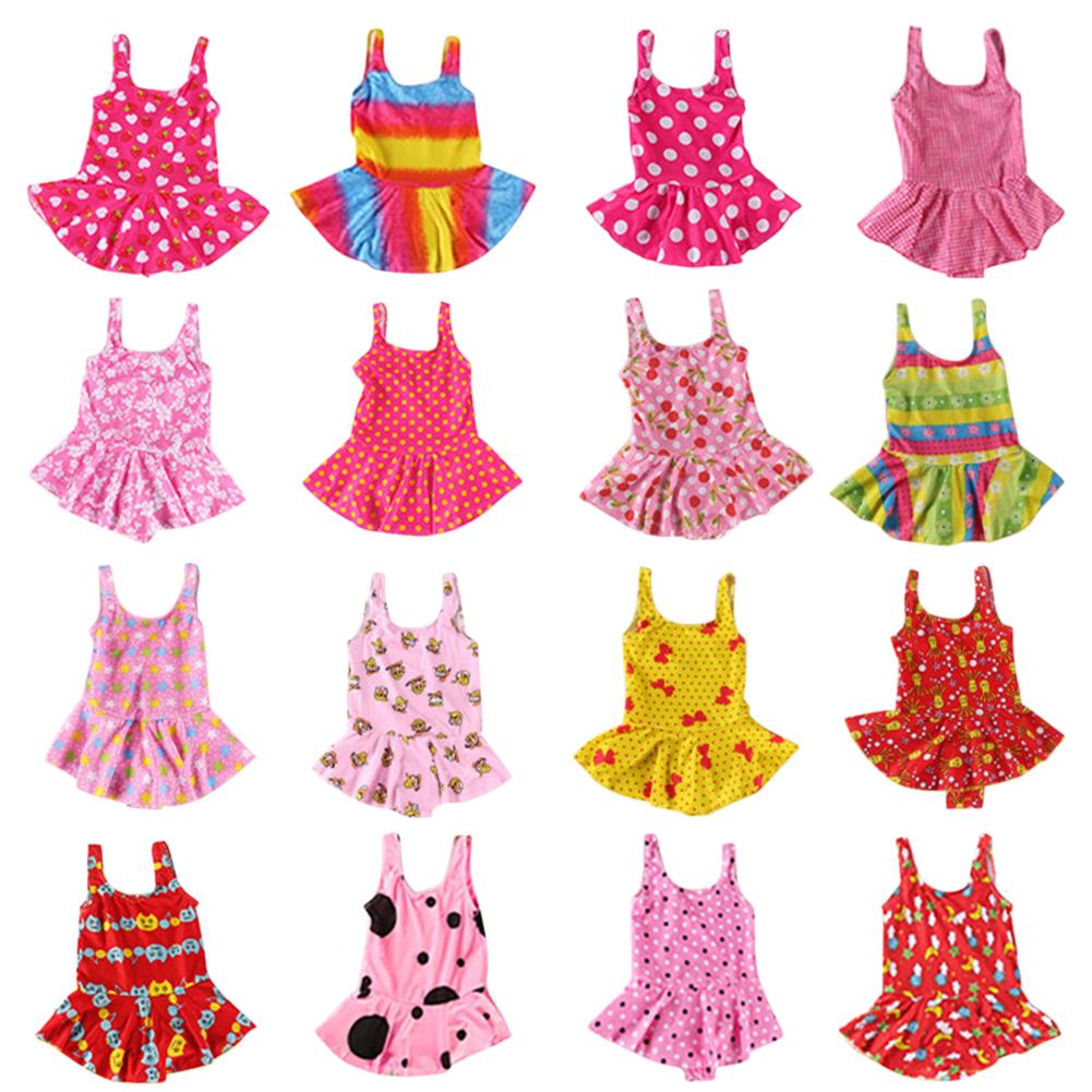 Cute Sweet Children Kids Girls One-piece Dress Swimsuit Random Color Random color_45#