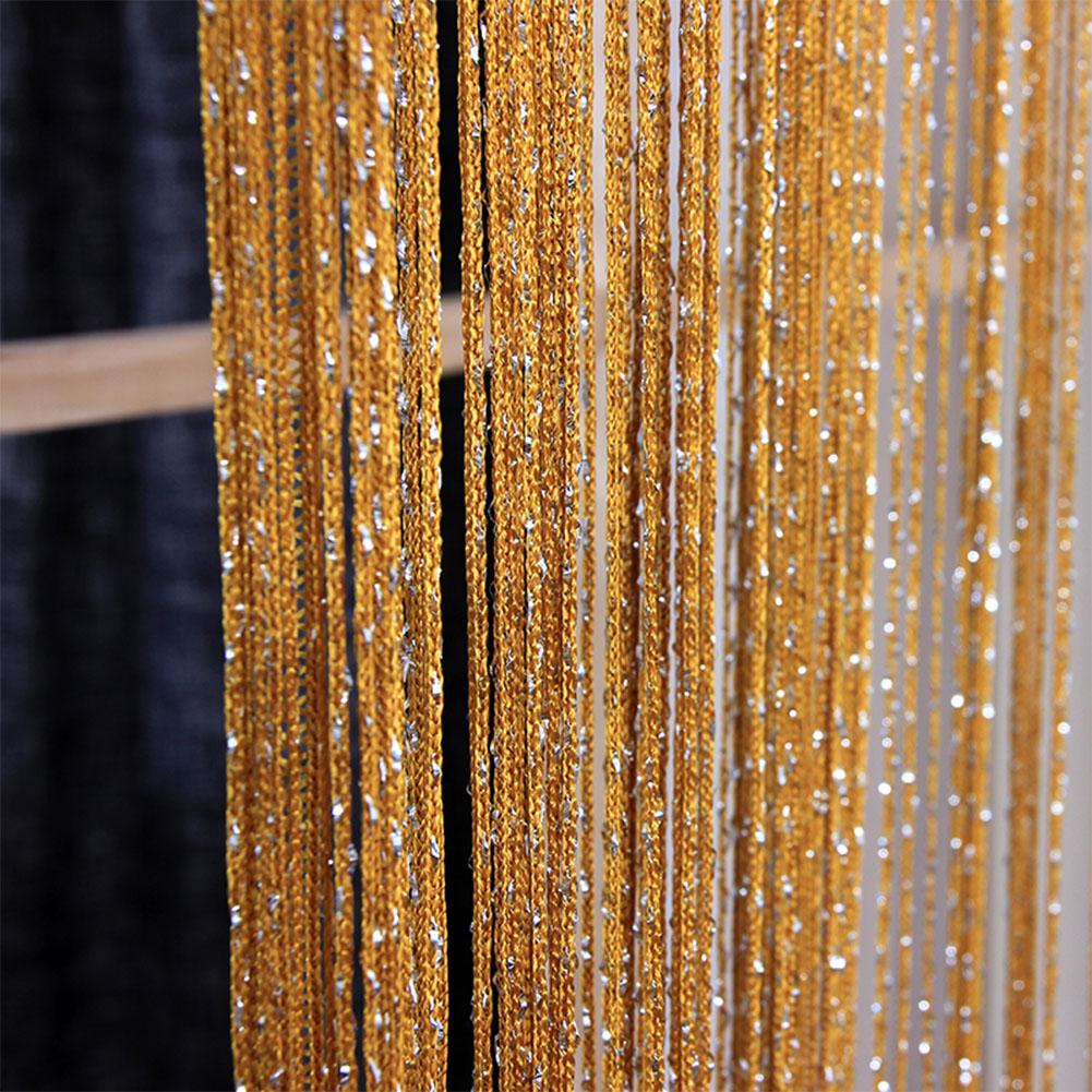 1 * 2M Shiny Tassel Flash Line String Curtain Window Door Divider Sheer Curtain Valance Home Wedding Decoration (Rod Pocket Version) Golden