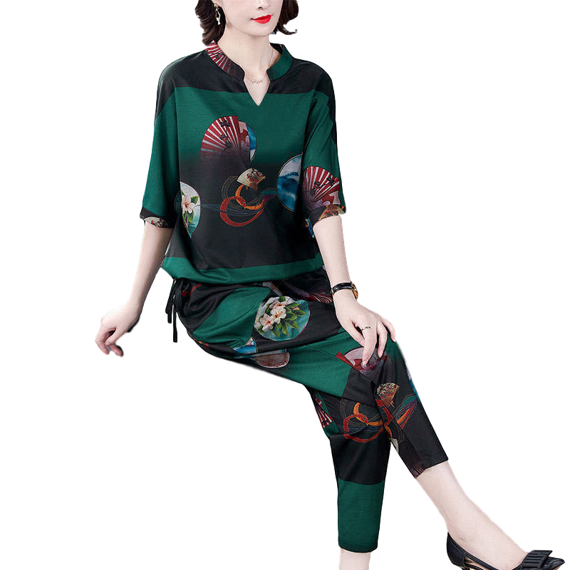Women's Suit Autumn Casual Printing Elbow Sleeve Loose Top + Pants green_3XL