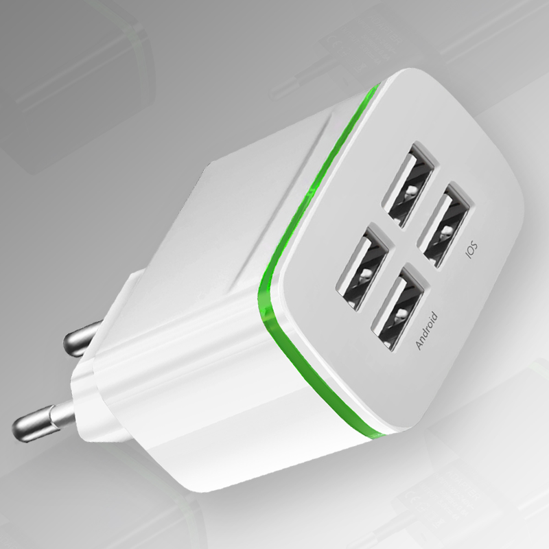 4 USB Wall Charger EU Plug Fast Charging Travel Charger Adapter Type-C Cable Phone Chargers white