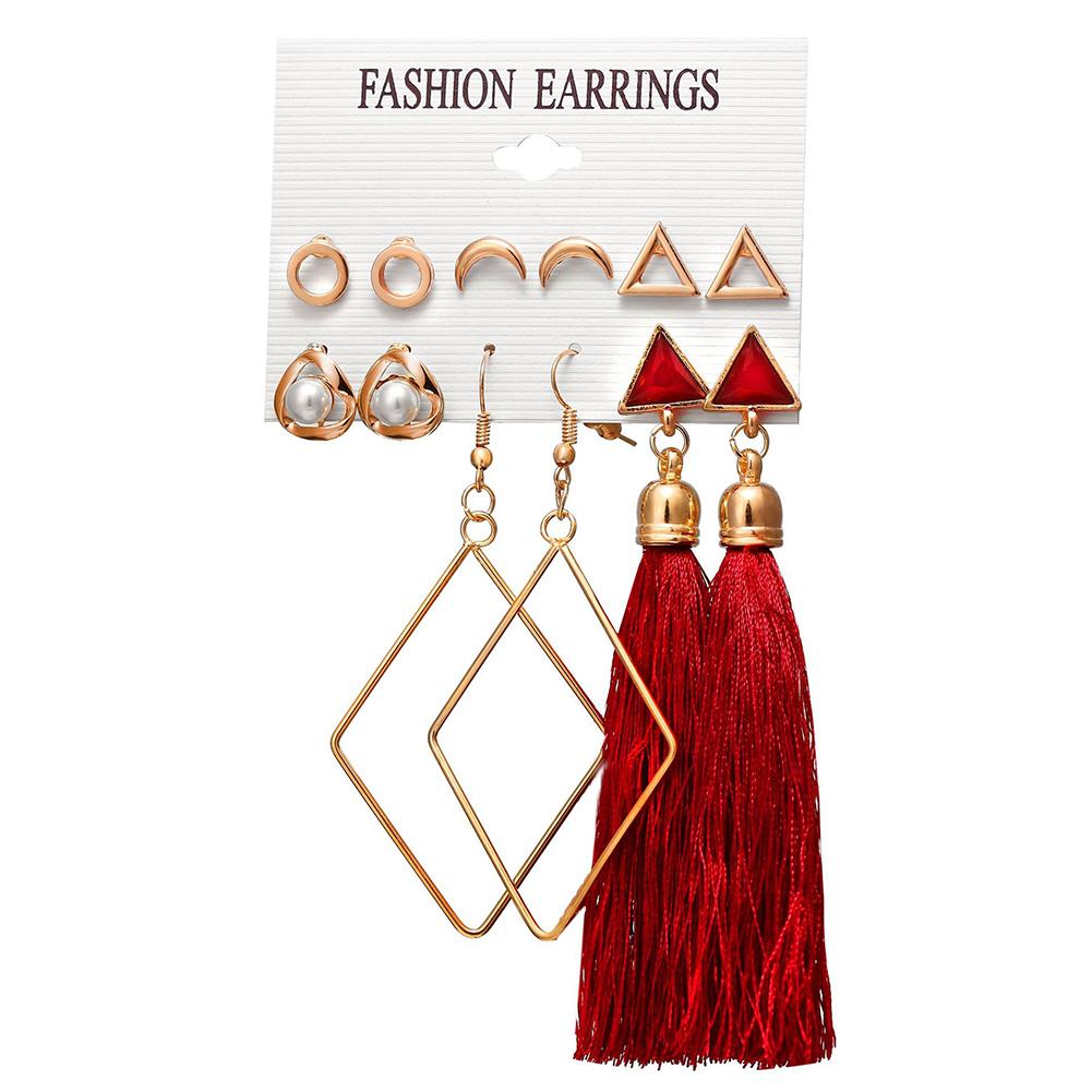 6 pairs Women Fashionable Bohemian Tassels Romantic Earrings Flower Pattern Earrings F1561A1