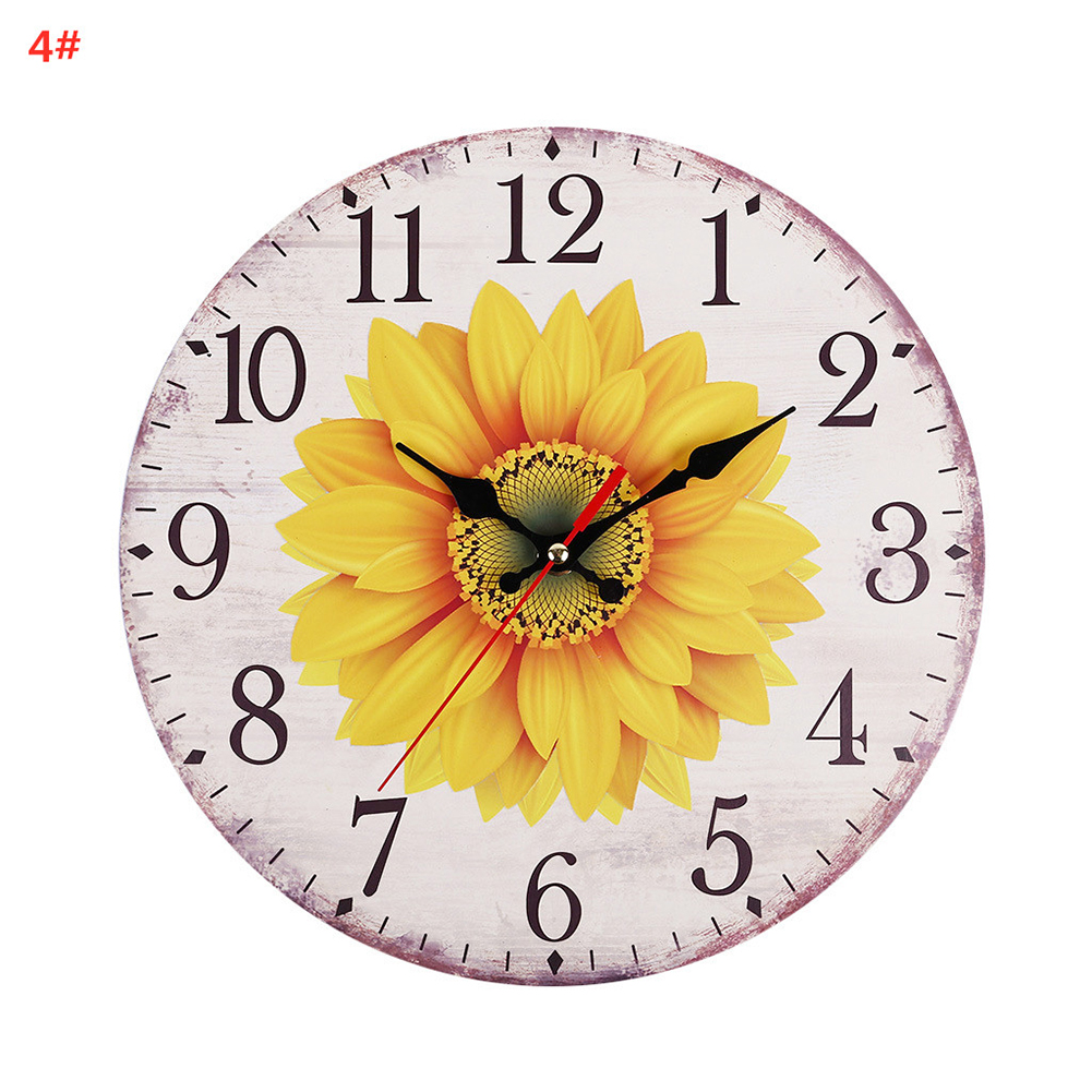 30CM Retro Pastoral Style Sunflower Pattern Wall Clock for Home Living Room Decor 4#
