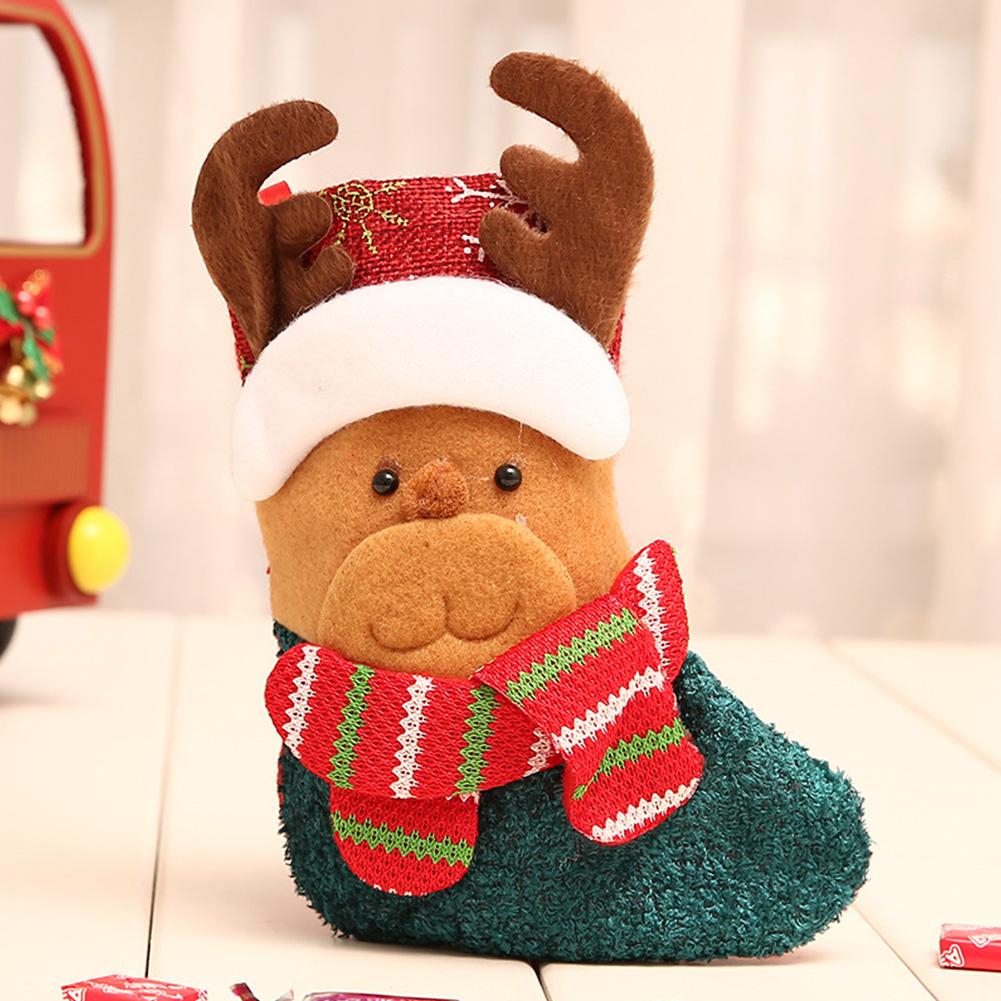 Christmas Stocking Decorations Children Gift Candy Bag Socks Tree Decoration Small socks moose
