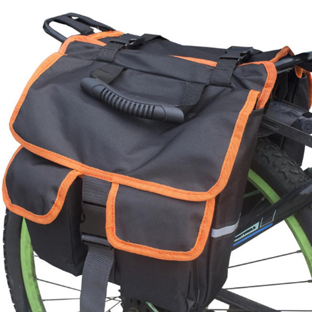 Mountain Bicycle Carrier Bag Rear Rack Trunk Bike Luggage Back Seat Pannier Cycling Saddle Storage Bags Black + orange edging_12 x 4 x 11inches