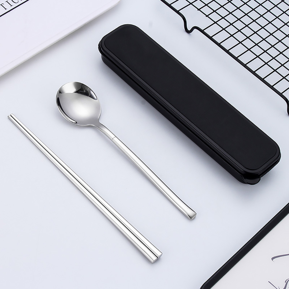 Stainless Steel Portable Cutlery Spoon Chopsticks Travel Camping Dinnerware Bright spoon + chopsticks + box
