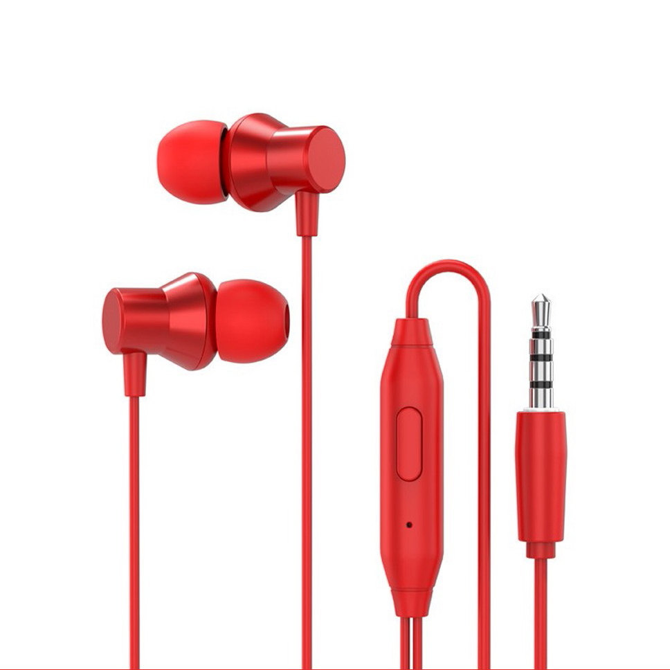 Original LENOVO HF130 Wired Earphones In-Ear HD Bass With Mic 3.5mm Jack red