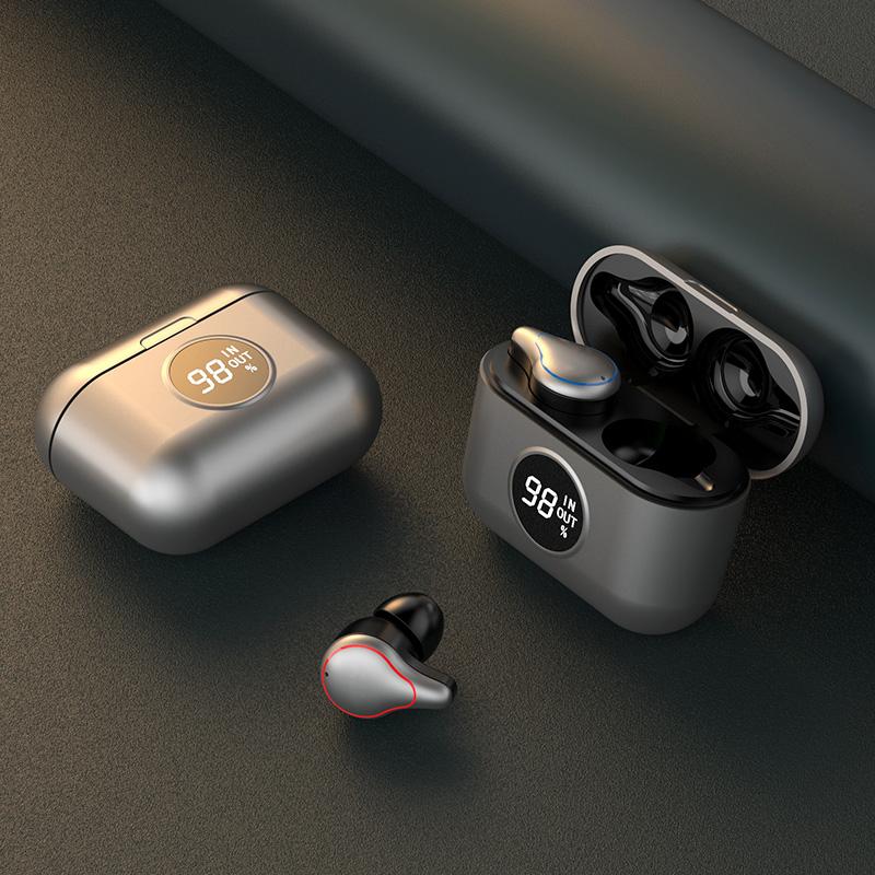 T60 TWS True Wireless Earbuds Noise Canceling Earpiece Portable Bloototh Earphone Handsfree Sport Headset With Case Silver grey