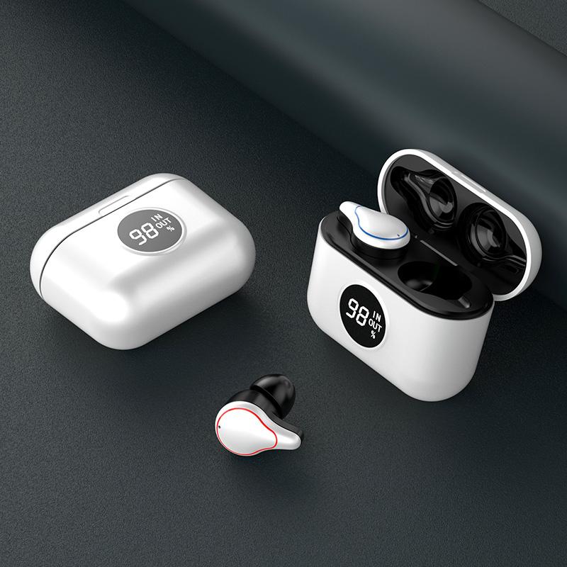 T60 TWS True Wireless Earbuds Noise Canceling Earpiece Portable Bloototh Earphone Handsfree Sport Headset With Case silver white
