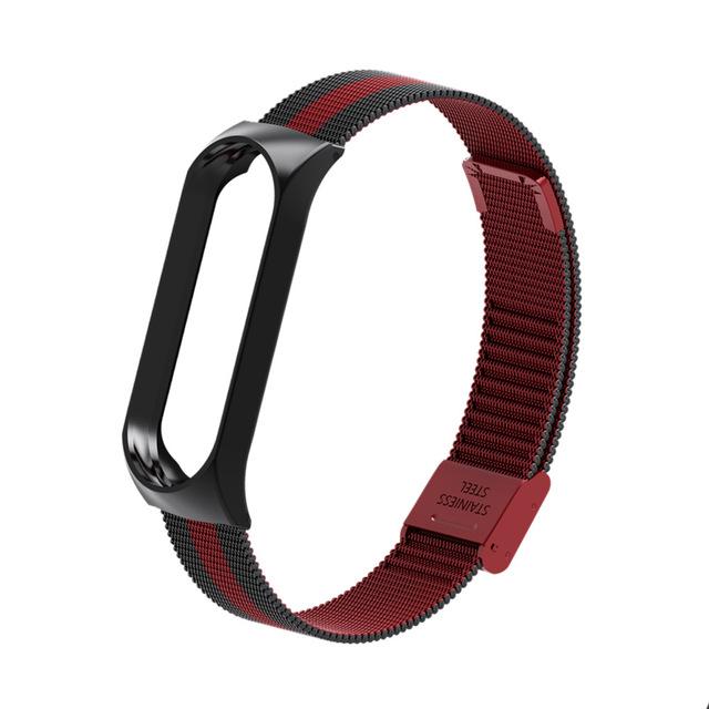 Mi Band 3 Wrist Strap Metal Screwless Stainless Steel for Xiaomi Mi Band 3 Strap Bracelet Miband 3 Wristbands Pulseira Miband3 Black red