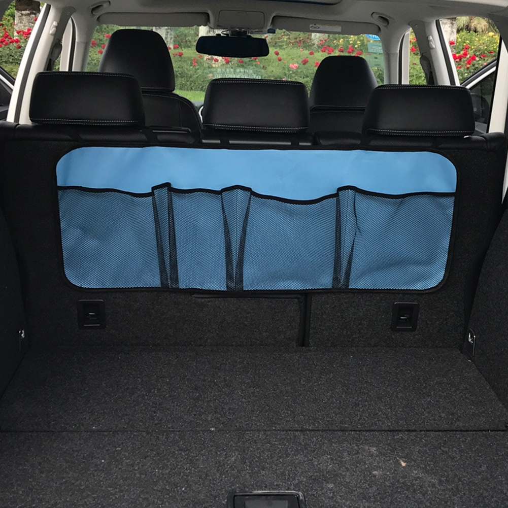 Car Trunk Organizer Adjustable Backseat Storage Bag Automobile Seat Back Organizers Normal version light blue