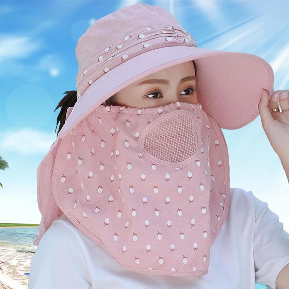 Women Summer Large Brim Sun Hat UV Protection Folding Mask Breathable Hat Light pink