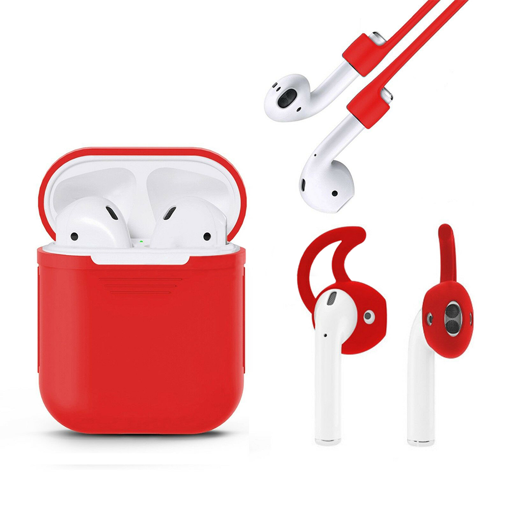 3 in 1 AirPods Silicone Case Cover Protective Skin for Apple Airpod  red
