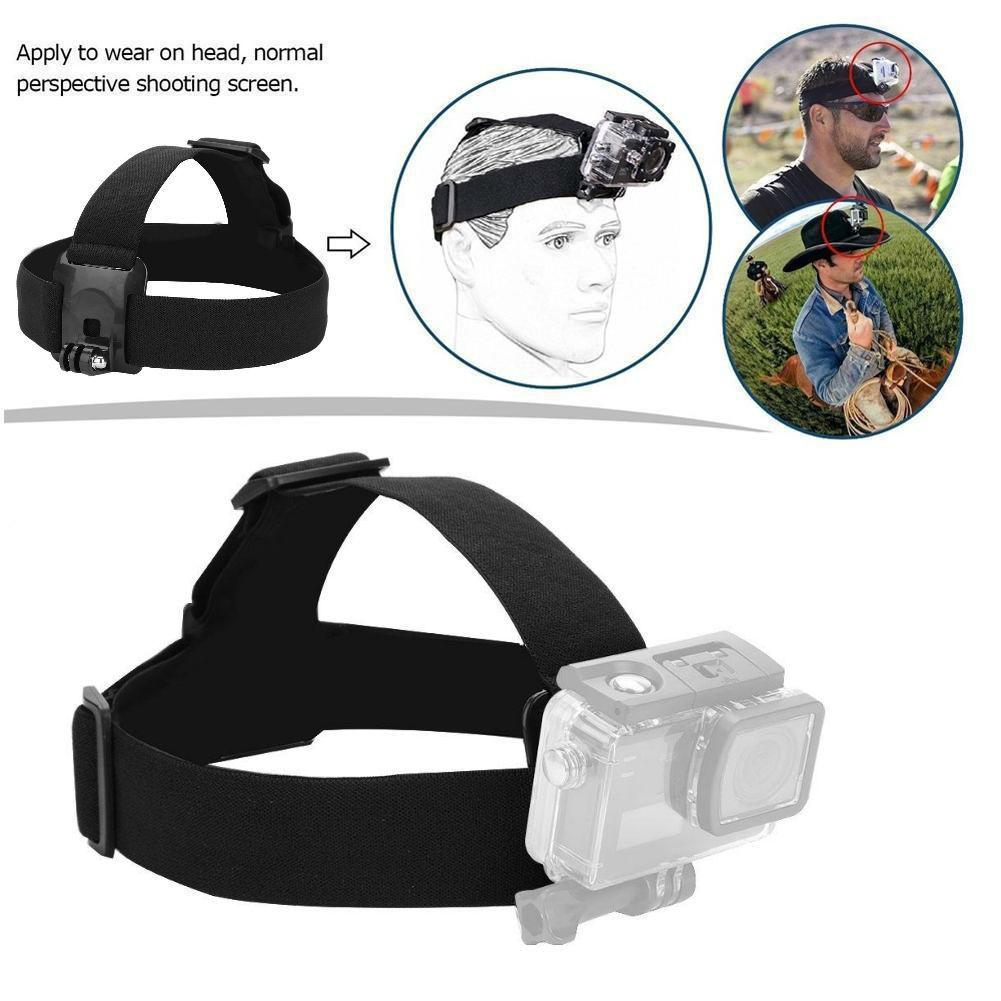 Adjustable Headband Belt Head Strap Mount for GoPro Hero 5/4/3 Camera black