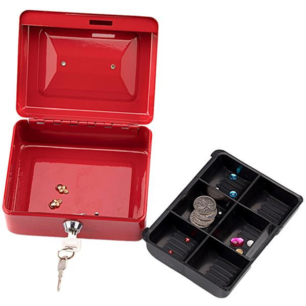[US Direct] Stainless Steel Cash  Box With Money Tray Safe Box With Key Cash Drawer red