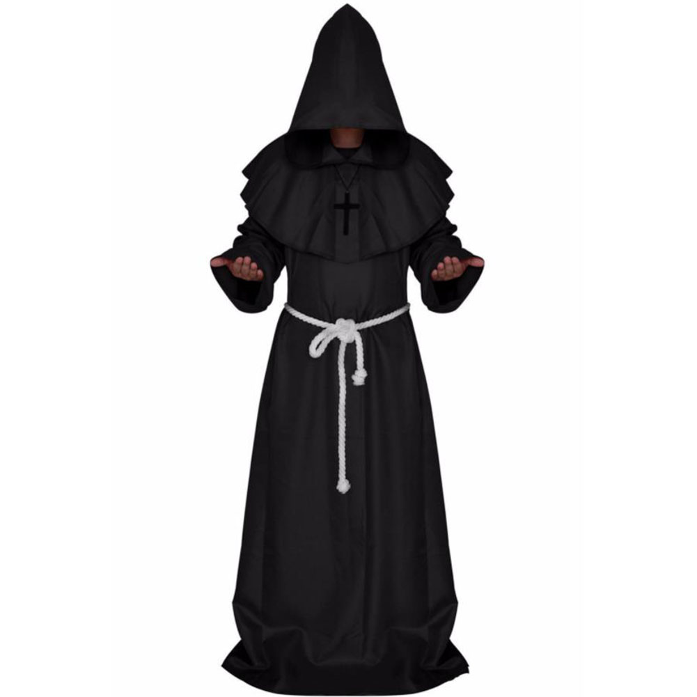 Mediaeval Monks Clothing Pastor Clothes Long Robe Wizard Costume Cosplay Church Fathers Costumes Halloween Masquerade Costume Black (medieval monk)_L