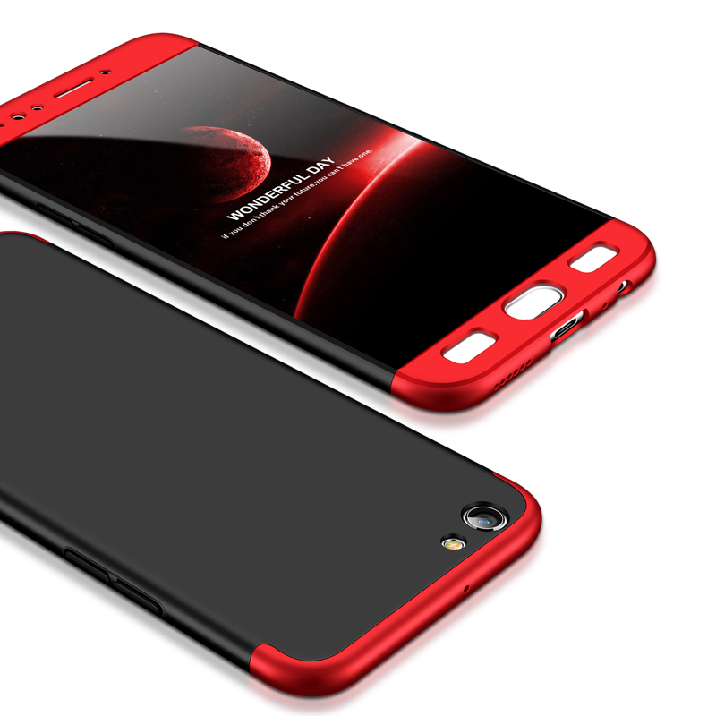 For OPPO F3 PLUS Ultra Slim PC Back Cover Non-slip Shockproof 360 Degree Full Protective Case Red black red