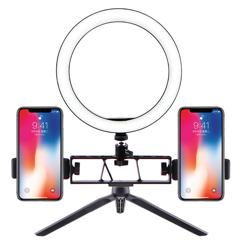 Selfie Ring Light LED Circle Light USB LED Desktop Lamp with Stand Dimmable LED Fill Light for Live Stream Photograph Desktop stand + 26cm fill light + double position