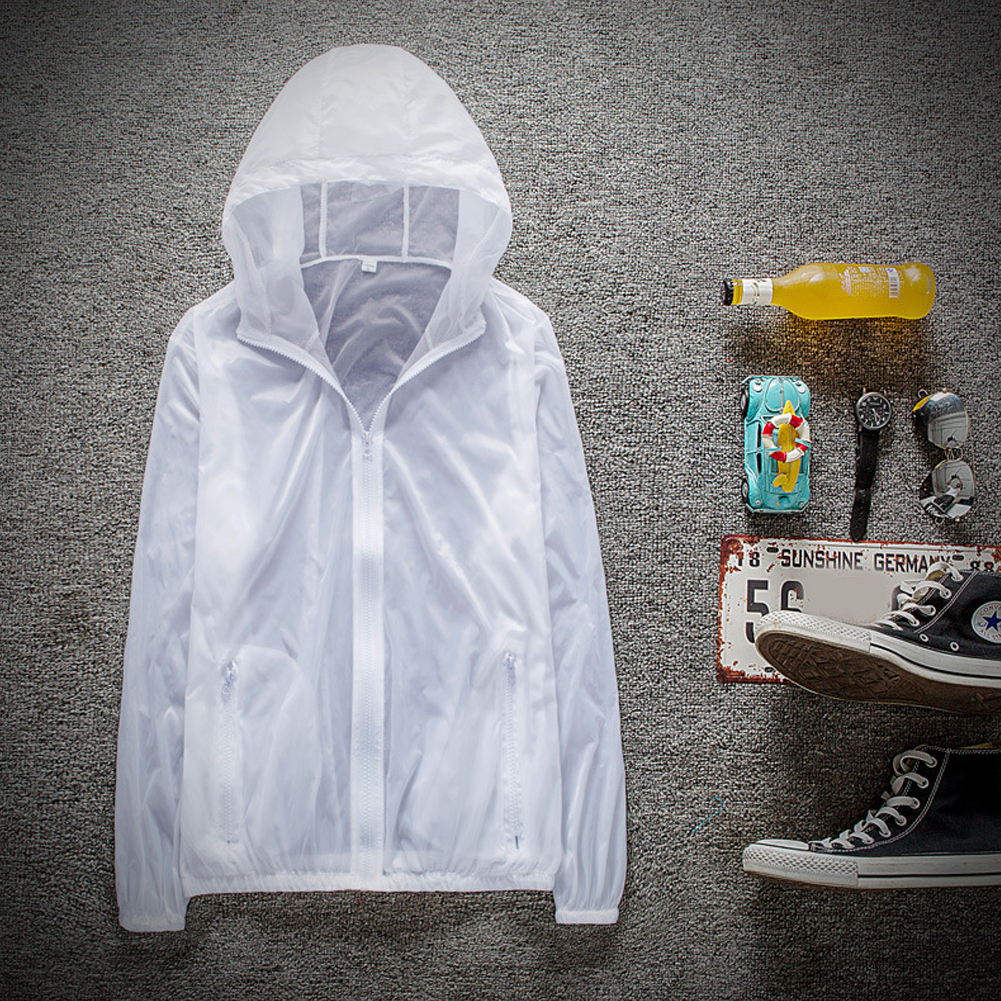 Couple Quick-drying Breathable Anti-UV Wear-resistant Sunscreen Hooded Coat Outdoor Sportswear white_L